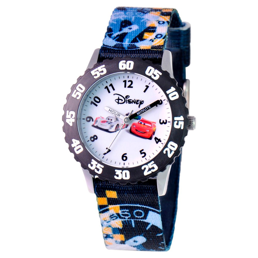 Boys' Disney Cars Stainless Steel Time Teacher with Bezel Watch, Multi-Colored