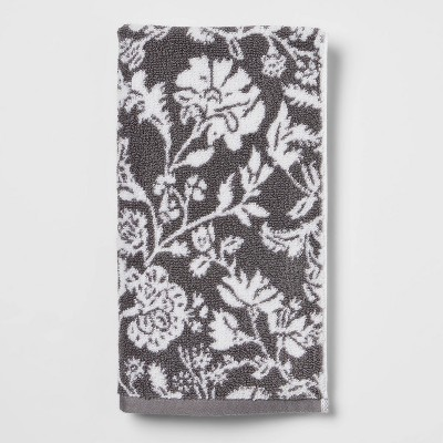 Performance Hand Towel Dark Gray Floral - Threshold™