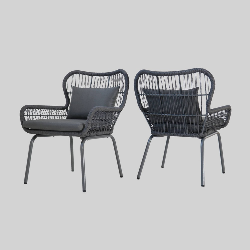 Southport 2pk Steel and Rope Club Chairs - Gray - Christopher Knight Home