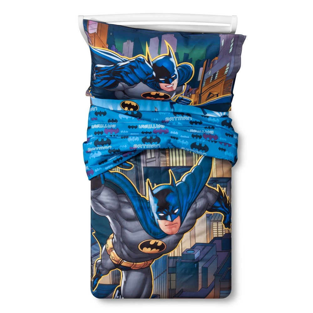 Image of Batman Blue Bedding Set (Toddler) 4pc, Multi-Colored