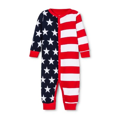 Snooze Button Baby Stars and Stripes Family Pajama Union Suit - Red 6-9M