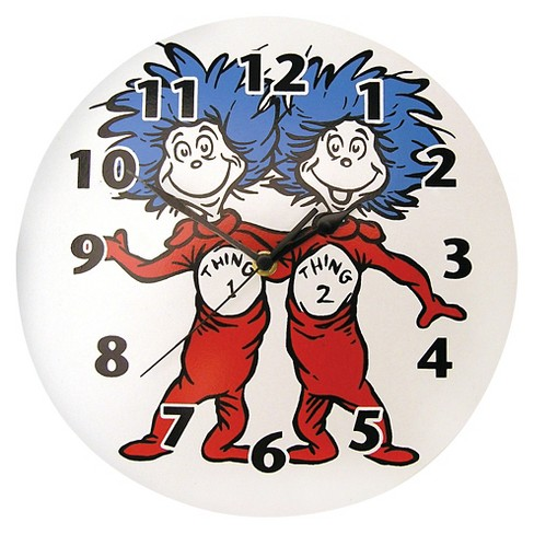 Dr. Seuss Thing 1-Thing 2 Wall Clock White - Trend Lab - image 1 of 2