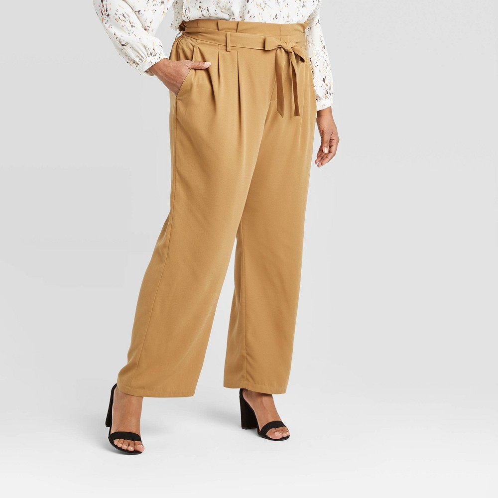 Women's Plus Size High-Rise Paperbag Pants - A New Day Brown 2X was $27.99 now $19.59 (30.0% off)