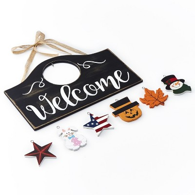 Lakeside Wall Hanging Welcome Sign with 6 Interchangeable Seasonal Icons