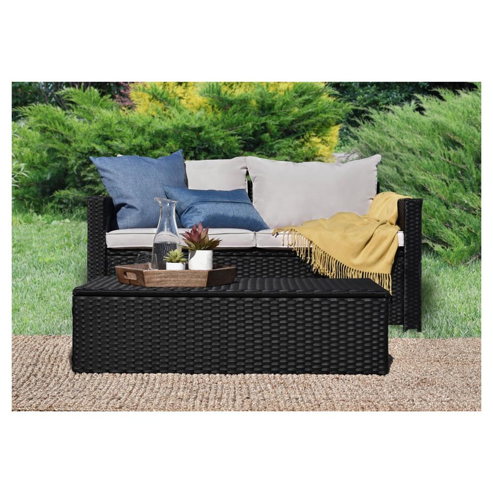 Laguna 2pc All-Weather Wicker Patio Storage Sofa & Coffee Table - Black Wicker - Serta, Brown