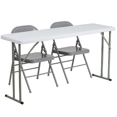 Flash Furniture 5-Foot Plastic Folding Training Table Set with 2 Gray Metal Folding Chairs