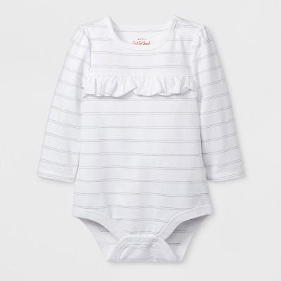 Baby Girls' Long Sleeve Ruffle Bodysuit - Cat & Jack™ White 0-3M