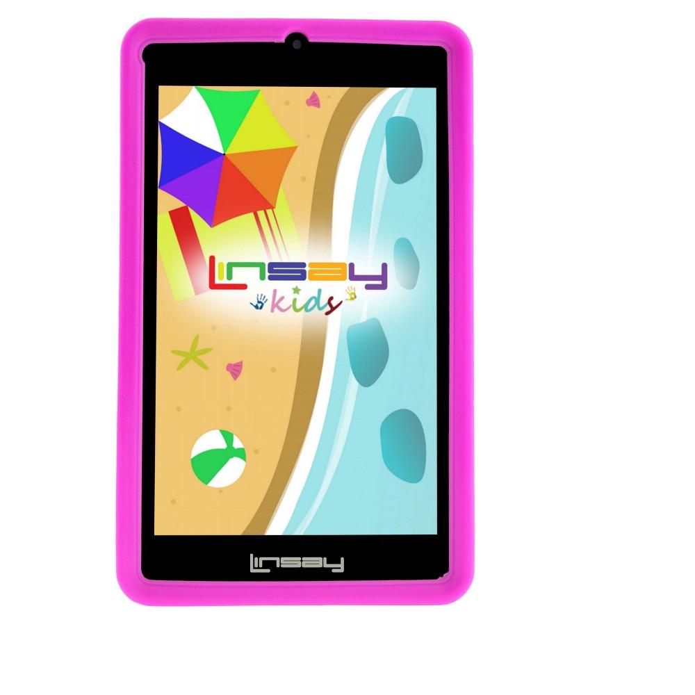 Linsay 7 Kids Funny Tablet 1024x600 HD 1GB Ram Quad Core Bundle with Pink Kids Defender Case, Black