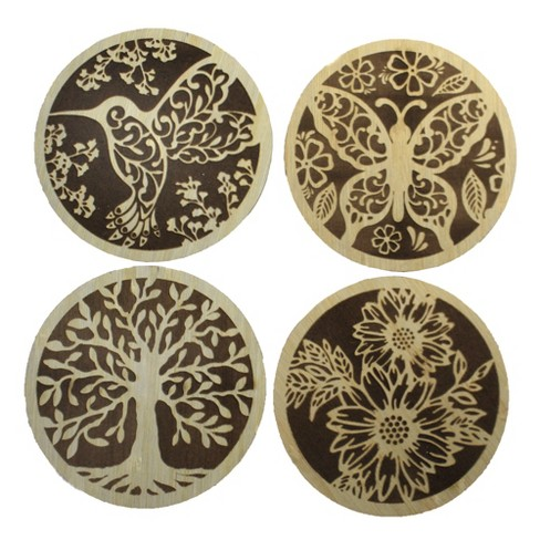 """Tabletop 4.0"""" Laser Cut Coasters Wooden Set Of 4 Ganz  -  Coasters - image 1 of 4"""