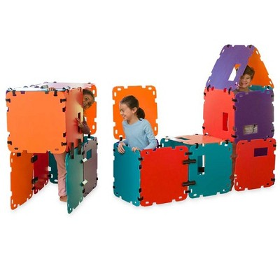 HearthSong 32-Panel Colorblock Fantasy Forts Indoor and Outdoor Building Kit