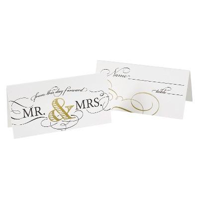 "25ct ""Mr & Mrs"" Wedding Elegance Place Cards Gold"