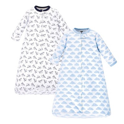 Hudson Baby Unisex Baby Cotton Long Sleeve Wearable Sleeping Bag Sack Blanket - Paper Airplane 3-9M