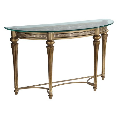 Galloway Sofa Table With Glass Top Brushed Pewter Glass Magnussen