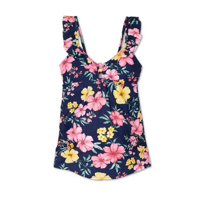 Maternity Floral Print Peephole Tankini Top - Isabel Maternity by Ingrid & Isabel™ Navy