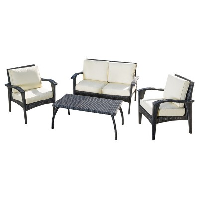 Honolulu 4pc Wicker Patio Seating Seat and Cushions - Black - Christopher Knight Home