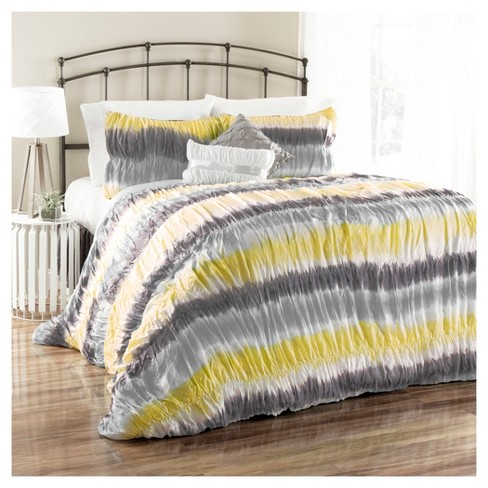 Yellow & Gray Tie Dye Bloomfield Comforter Set (Full/Queen) 5pc - Lush Decor® - image 1 of 1
