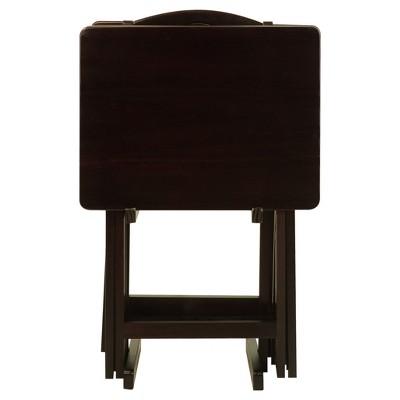 5pc Tray Table Set - Espresso - Flora Home