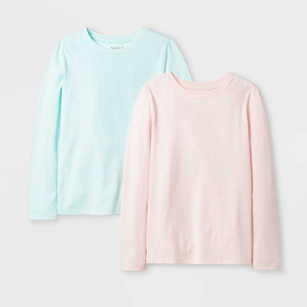 Girls 39 2pk Solid Long Sleeve T Shirt Cat 38 Jack 8482 Pink Aqua Xs