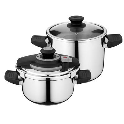BergHOFF Vita 4Pc 18/10 Stainless Steel Pressure Cooker Set 7.4 Qt & 4.2Qt