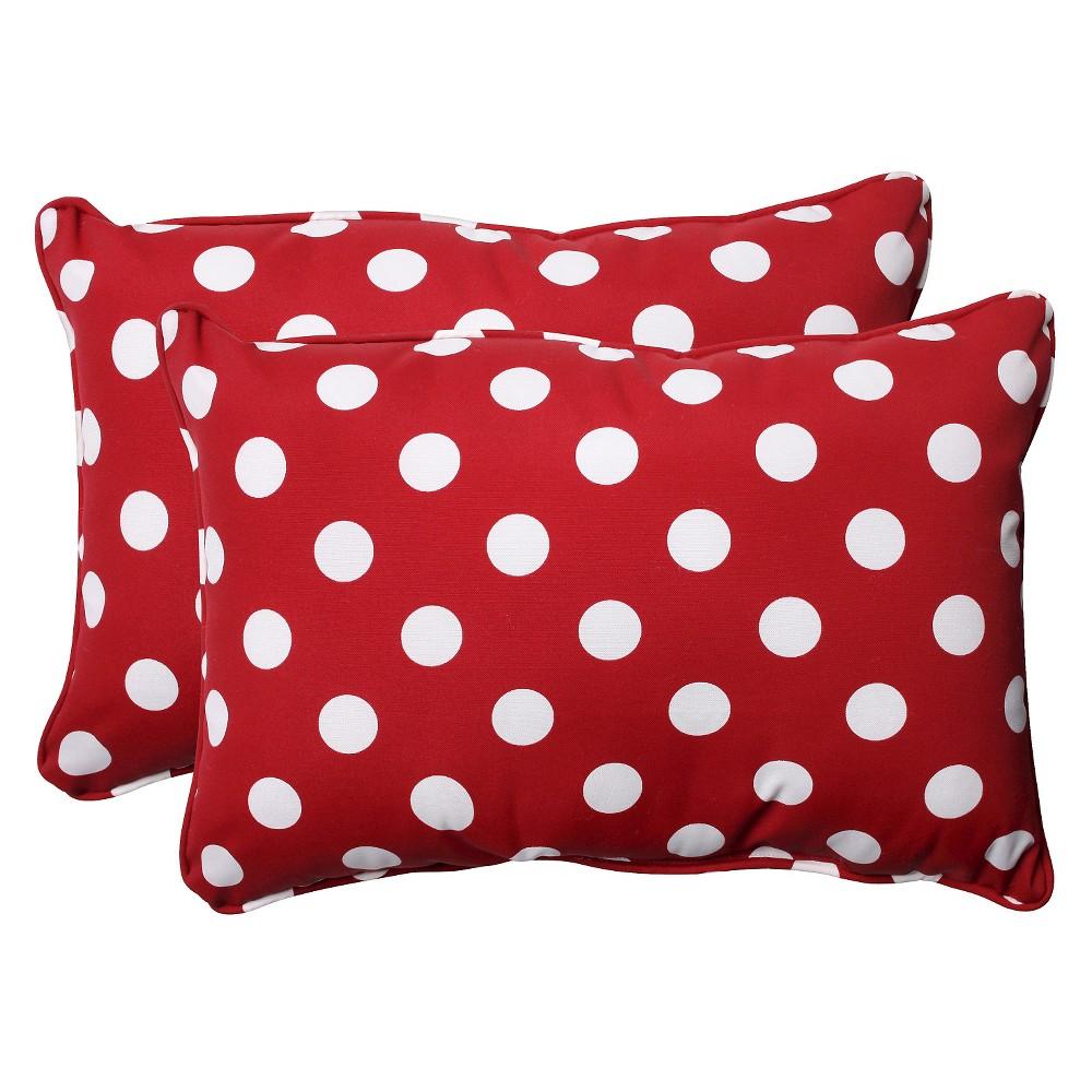 2 Piece Outdoor Toss Pillow Set Red White Polka Dot 24