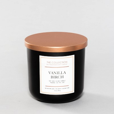 12oz Lidded Black Jar Candle Vanilla Birch - The Collection By Chesapeake Bay Candle