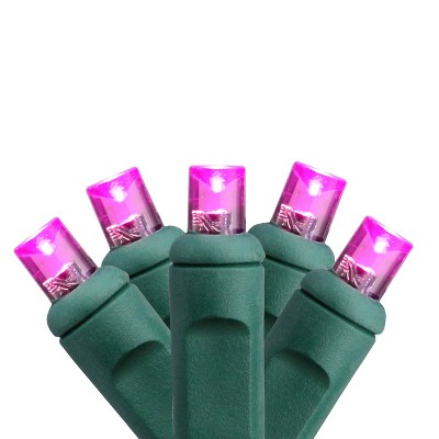 HUB 50ct Wide Angle LED String Lights Pink - 24.5' Green Wire