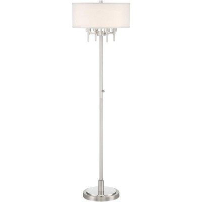 Possini Euro Design Modern Floor Lamp Brushed Nickel 4-Light Linen Blend Drum Shade for Living Room Reading Bedroom Office