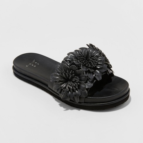 92535c066a7 Women s Dawnrae Floral Shower Slide Sandal - A New Day™ Black 9   Target