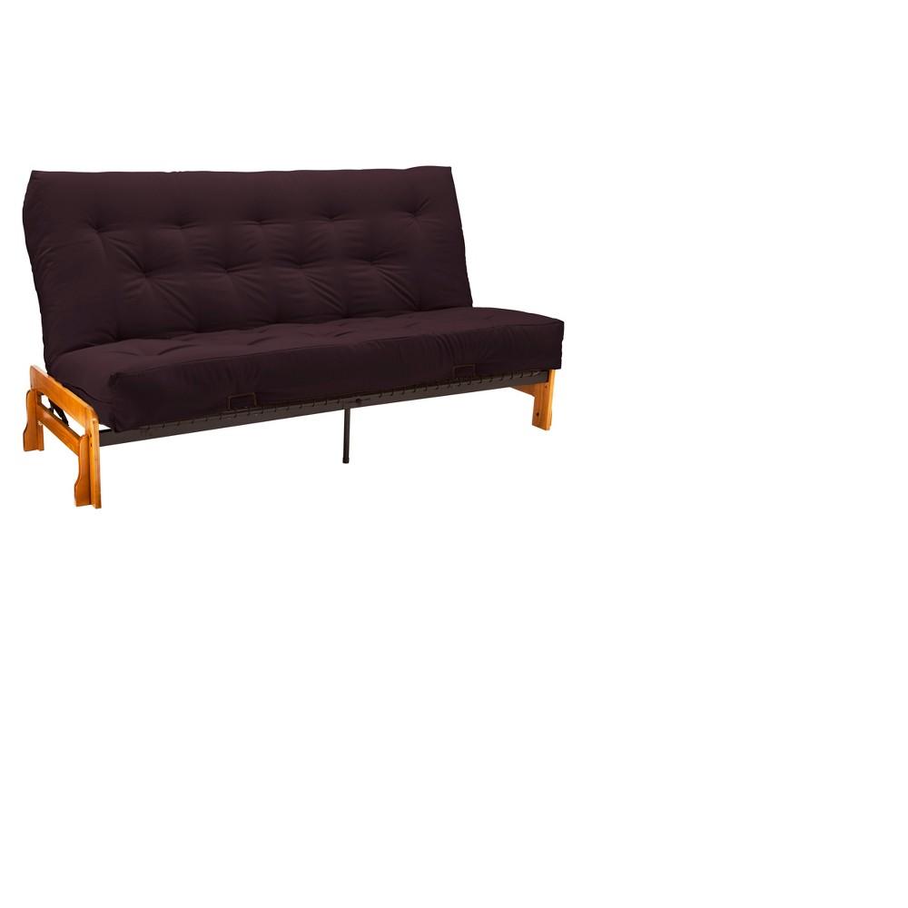 Low Arm 8 Cotton & Foam Futon Sofa Sleeper Oak Wood Finish - Epic Furnishings, Red