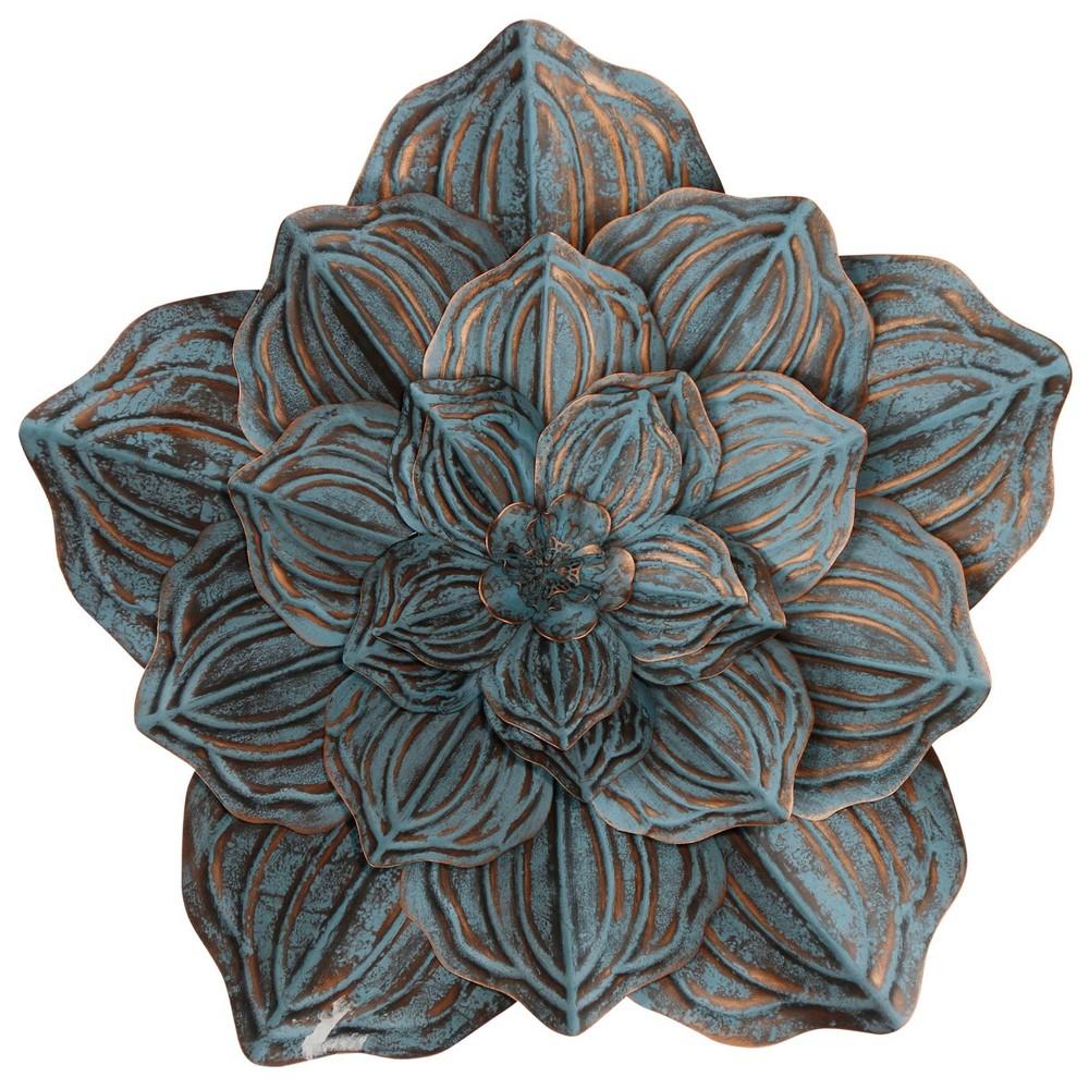 Image of Single Large Flower Blossom Metal Decorative Wall Sculpture Bronze/Blue - StyleCraft