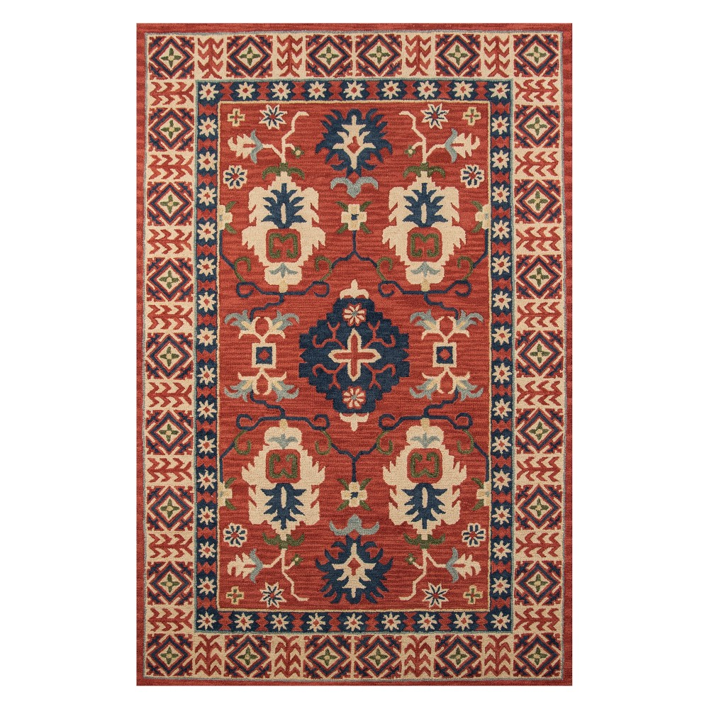 8'X11' Floral Tufted Area Rug Red - Momeni