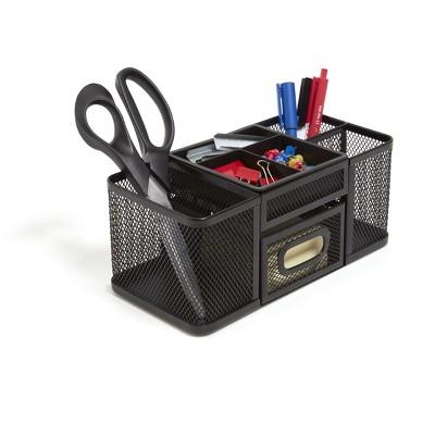 TRU RED 7-Compartment Wire Mesh Accessory Holder, Matte Black TR57541-CC