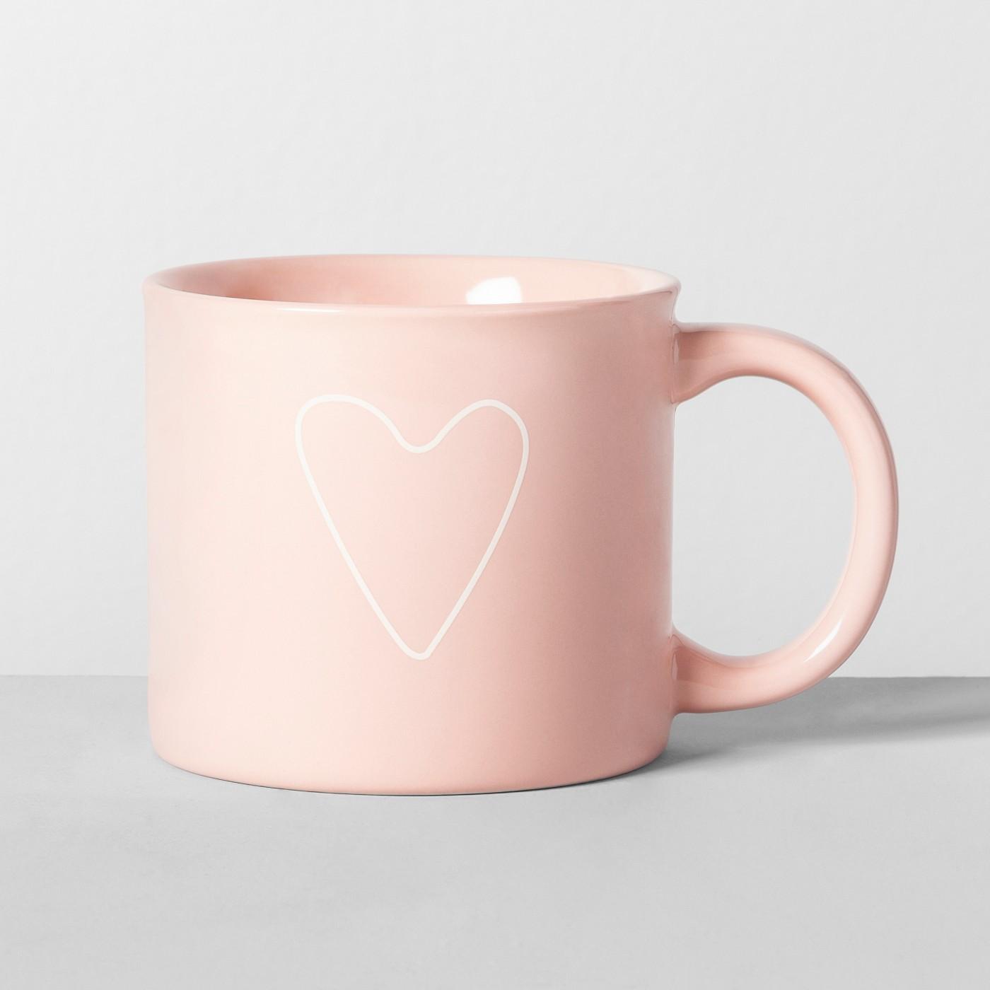 16oz Porcelain Heart Mug Pink - Opalhouse™ - image 1 of 1