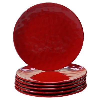"""Certified International Solid Color Melamine Salad Plates 9"""" Red - Set of 6"""