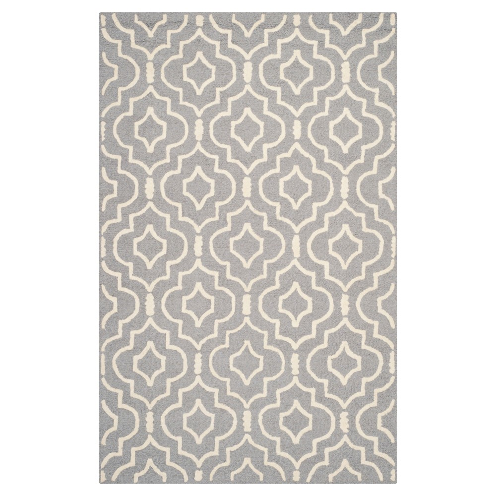 Tahla Texture Wool Rug - Silver / Ivory (4' X 6') - Safavieh, Silver/Ivory