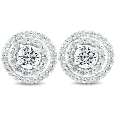 Pompeii3 1Ct Diamond Double Halo Studs Screw Back Womens Earrings White Gold 10.2MM