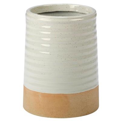 Certified International Artisan Ceramic Utensil Holder 9.5  x 5.8  - White/Brown
