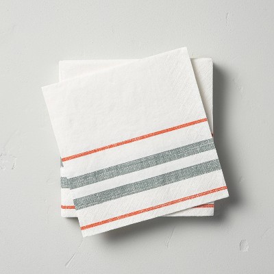 14ct Bottom Stripes 3-Ply Cocktail Napkin Gray/Orange - Hearth & Hand™ with Magnolia