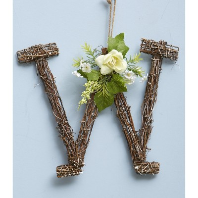 Lakeside Woven Rattan Monogram Door Hanger with Faux Floral Accents
