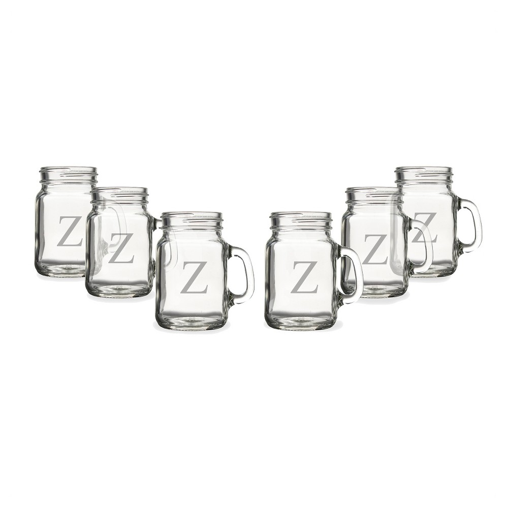 6ct Monogram Wedding Mini Drinking Jar Shot Glasses, Clear