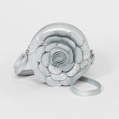 Girls' Rose Crossbody Bag - Cat & Jack™ Silver - image 1 of 1