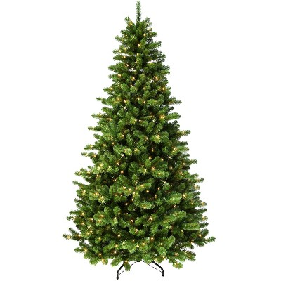 7.5ft Puleo Pre-Lit Full Vermont Spruce Christmas Tree with Sure Lit Pole 550 Clear Incandescent Lights
