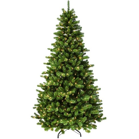 7.5ft Puleo Pre-Lit Full Vermont Spruce Christmas Tree with Sure Lit Pole 550 Clear Incandescent Lights - image 1 of 3