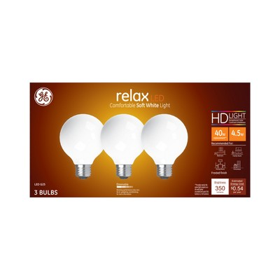General Electric 3pk 40W Ca Relax LED Light Bulb SW G25 Globe Frost