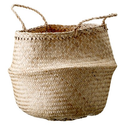 Seagrass Basket With Handles (13.75 )- Natural - 3R Studios