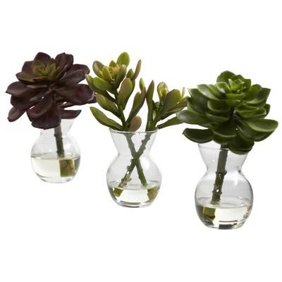 """5.5"""" x 4"""" 3pc Artificial Succulent Arrangements Set - Nearly Natural"""