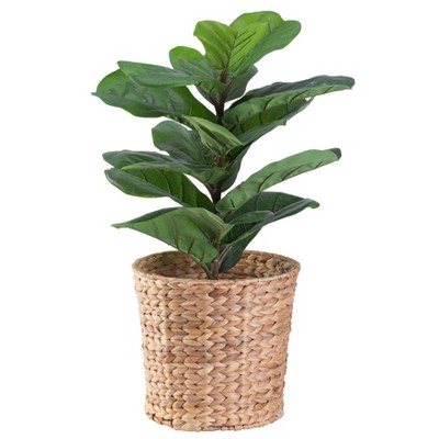 Vintiquewise Natural Water Hyacinth Round Waste Basket - For Bathrooms, Bedrooms, or Offices