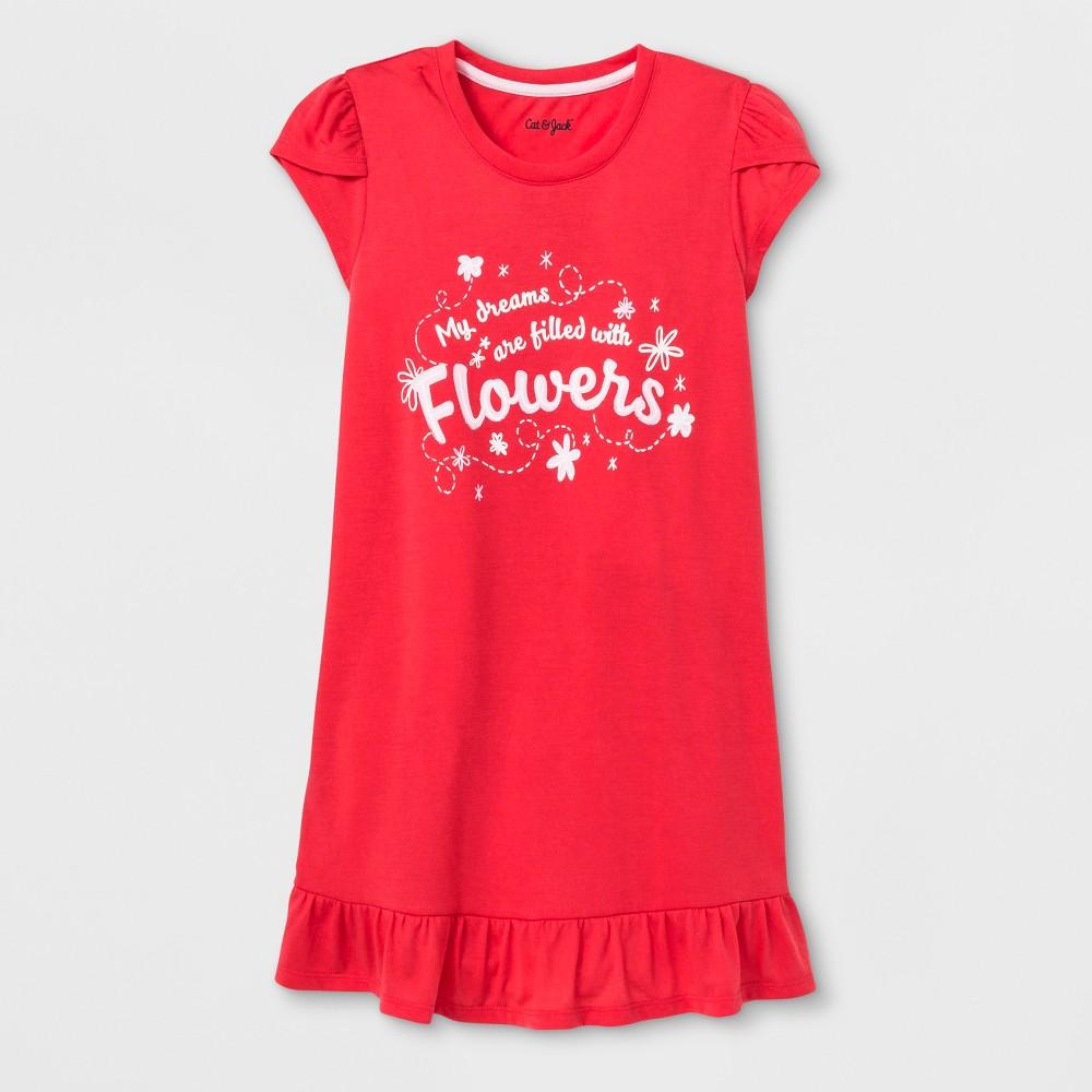 Girls' Flowers Nightgown - Cat & Jack Light Pink S, Orange