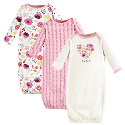 Touched by Nature Baby Girl Organic Cotton Long-Sleeve Gowns 3pk, Botanical
