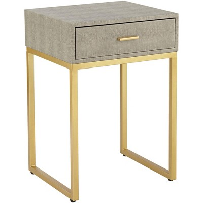 """55 Downing Street Govea 14"""" Wide Gray Faux Shagreen and Gold 1-Drawer Side Table"""